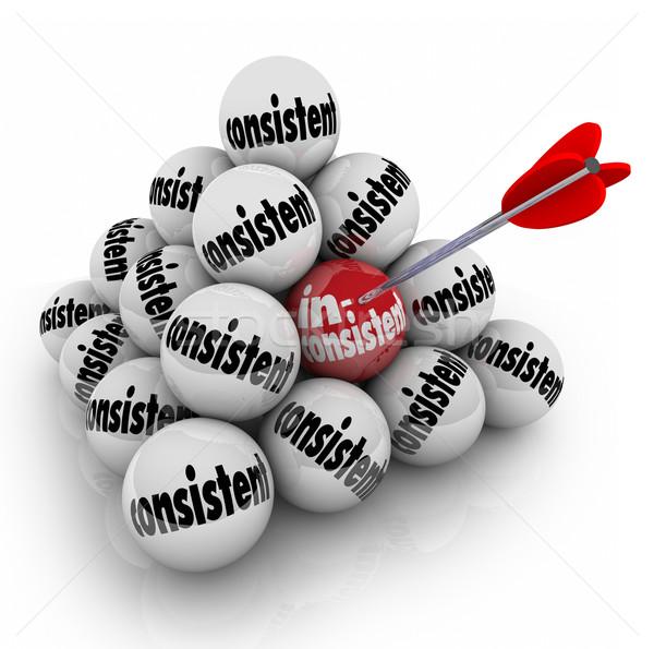 Inconsistent Vs Consistency Word Ball Pyramid Different Oddball Stock photo © iqoncept