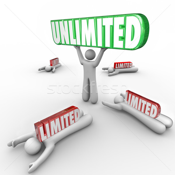 Unlimited Vs Limited Resources Freedom Abilities Unrestricted Su Stock photo © iqoncept