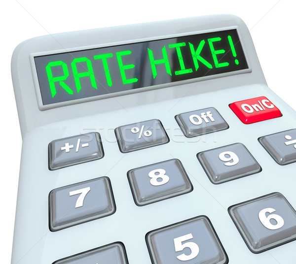Rate Hike Calculator Words Increased Interest Cost Borrow Money Stock photo © iqoncept