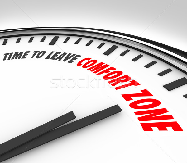 Time to Leave Your Comfort Zone Clock Grow Expand Horizons Stock photo © iqoncept