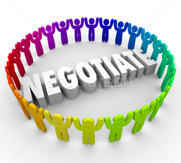 Negotiate 3d People Compromise Discussing Agreement Consensus Ap Stock photo © iqoncept