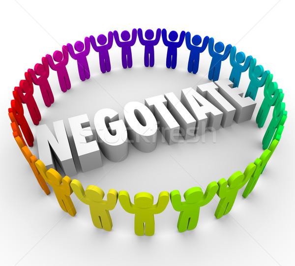 3d люди компромисс соглашение консенсус слово Сток-фото © iqoncept