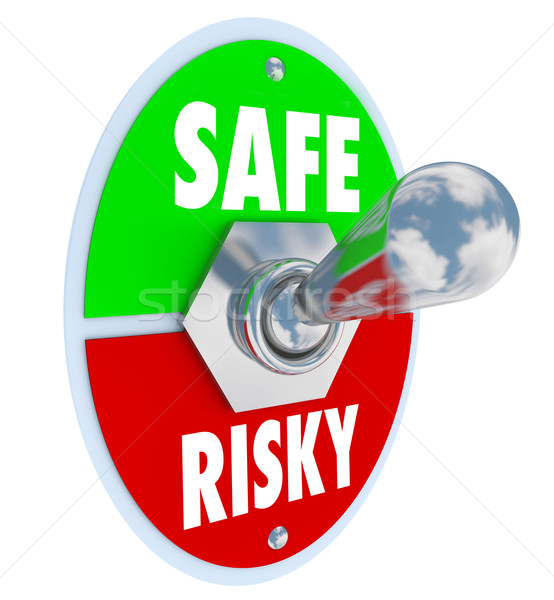 Stock photo: Safe Vs Risky Toggle Switch Secure Behavior Reduce Liability