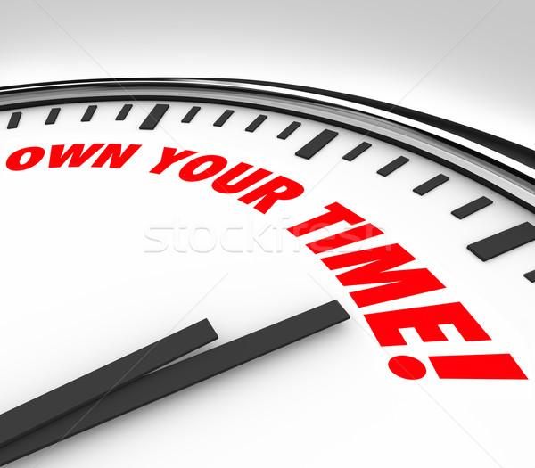 Besitzen Zeit Uhr Worte genießen persönlichen Stock foto © iqoncept