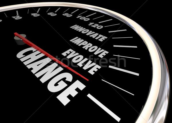 Stock photo: Change Innovate Improve Involve Speedometer 3d Illustration