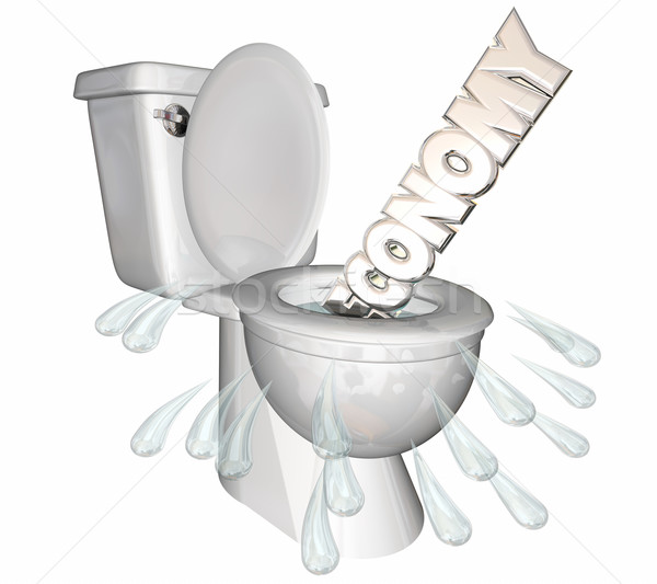 Economy Downturn Recession Flush Down Toilet Word 3d Illustratio Stock photo © iqoncept