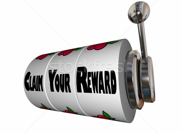 Claim Your Reward Prize Slot Machine Wheels 3d Illustration Stock photo © iqoncept