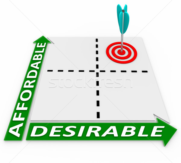 Affordable and Desirable Chart - Arrow and Target Stock photo © iqoncept