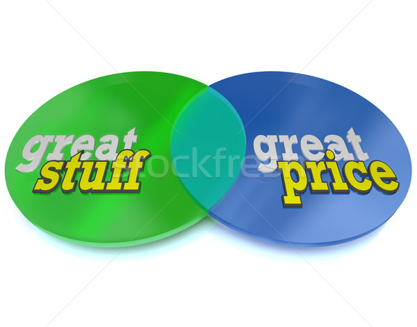 Great Stuff and Affordable Price Words on Venn Diagram Stock photo © iqoncept