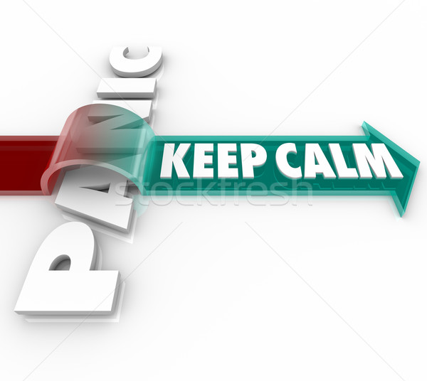 Keep Calm Arrow Over Word Panic Stress Pressure Stock photo © iqoncept