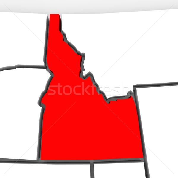 Idaho Red Abstract 3D State Map United States America Stock photo © iqoncept