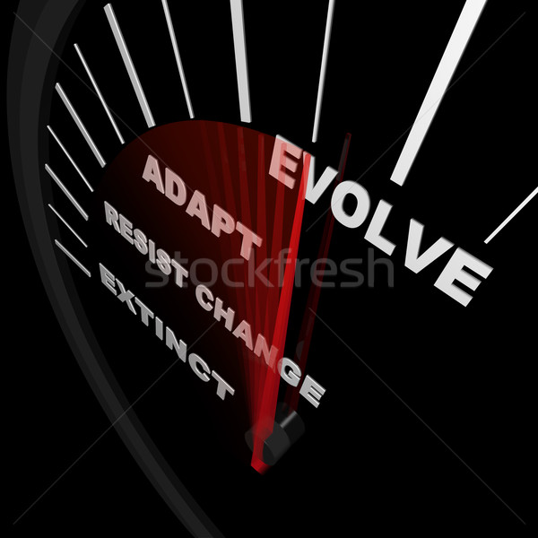 Stock photo: Evolve - Speedometer Tracks Progress of Change