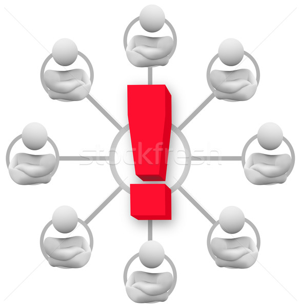 Angry Group of People - Exclamation Point Stock photo © iqoncept
