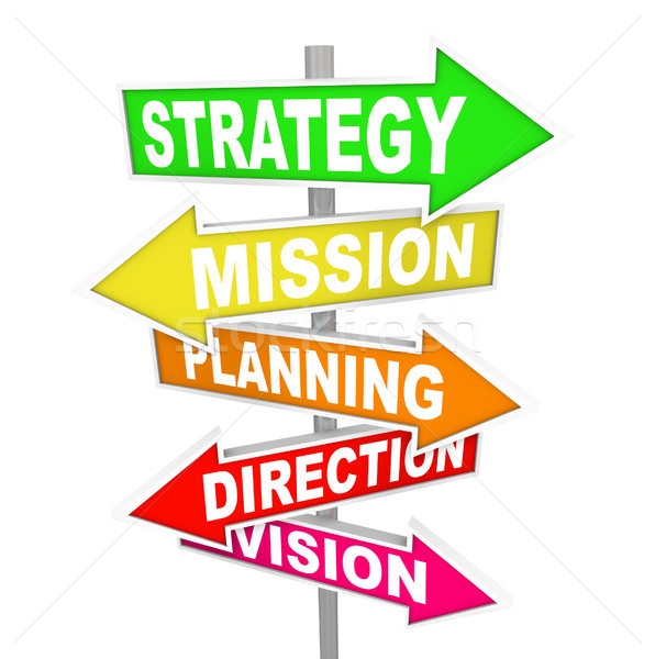 Stock photo: Strategy MIssion Planning Direction Vision Road Signs