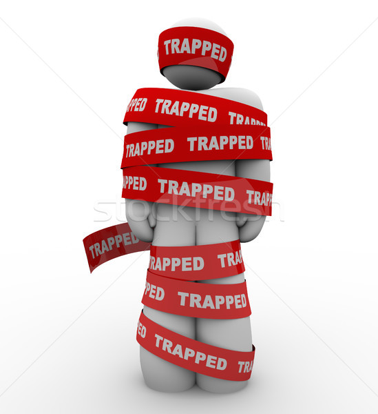 Trapped Person Tangled in Red Tape No Freedom Stock photo © iqoncept