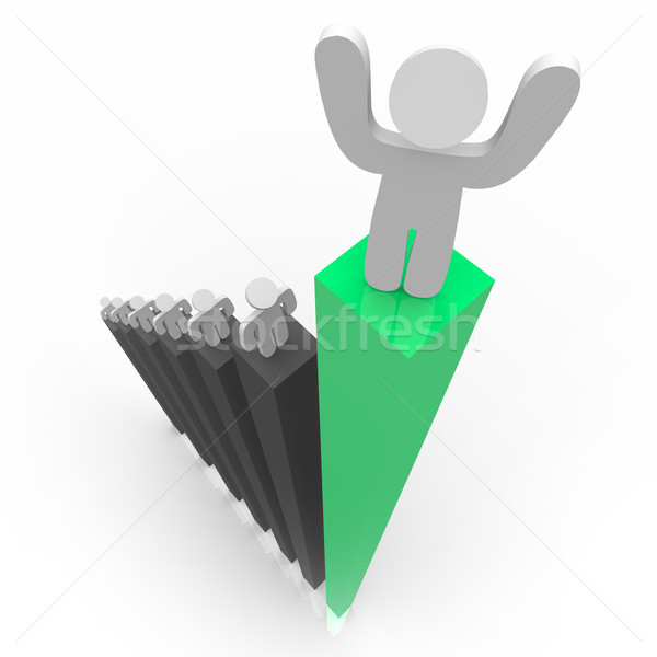 Standing Atop Green Bar Graph Stock photo © iqoncept