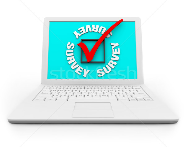Survey Checkbox and Mark on a White Laptop Stock photo © iqoncept