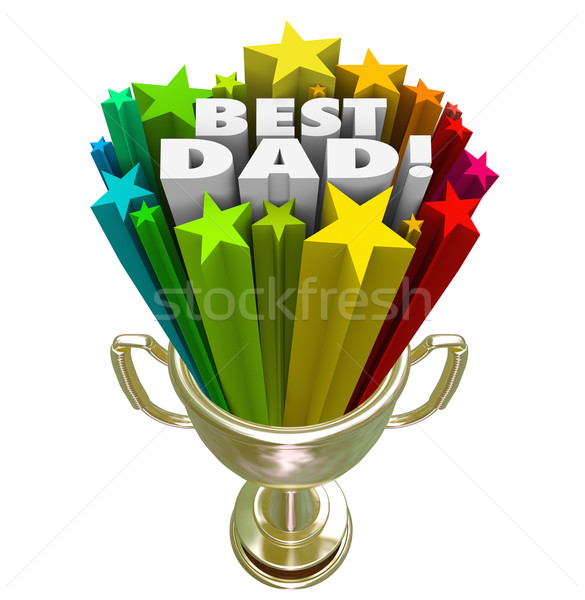 Best Dad Prize Award Trophy Top Father Parenting Skills Stock photo © iqoncept