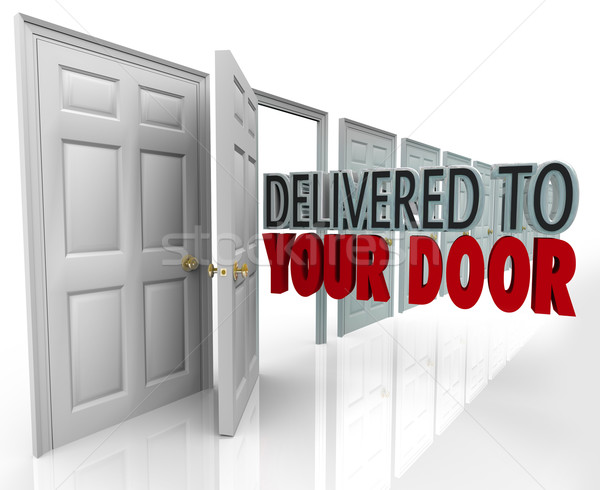 Delivered to Your Door 3D Words Special Courier Expedited Servic Stock photo © iqoncept