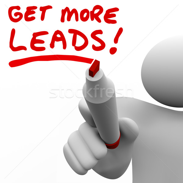 Get More Sales Leads Salesman Writing Words Increase Selling Stock photo © iqoncept