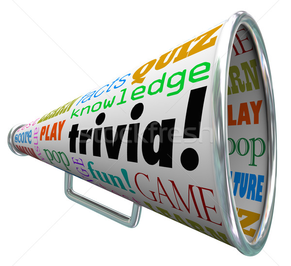 Trivia Knowledge Quiz Bullhorn Megaphone Test Pop Culture Stock photo © iqoncept