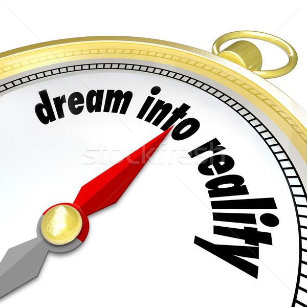 Dream Into Reality Words Gold Compass Direction Achieve Goal Stock photo © iqoncept