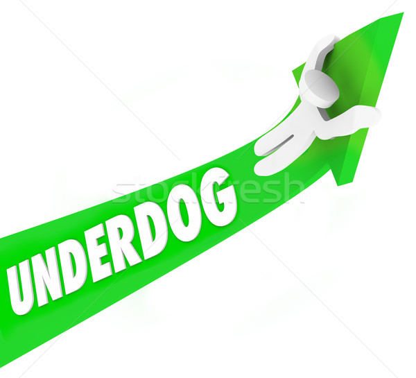 Underdog Word 3d Arrow Man Unexpected Winner Competition Stock photo © iqoncept