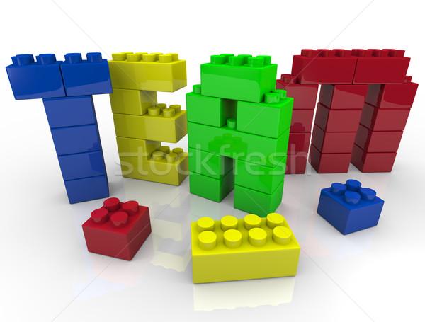 Csapatépítés építőkockák levelek együtt épület színek Stock fotó © iqoncept