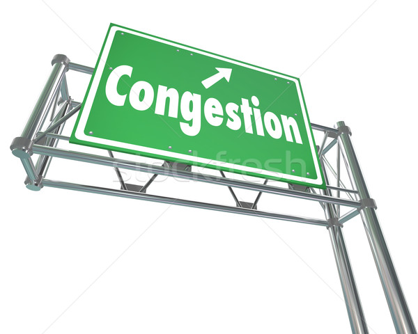 Congestion Word Freeway Highway Road Sign Crowded Traffic Gridlo Stock photo © iqoncept