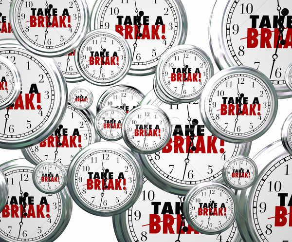 Take a Break Words Flying Clocks Stop Pause Working Rest Relax P Stock photo © iqoncept
