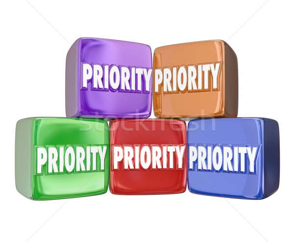 Priority Blocks Cubes Boxes Most Important Urgent Jobs Tasks Con Stock photo © iqoncept