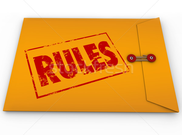 Rules Yellow Envelope Secret Regulations Guidelines Stock photo © iqoncept