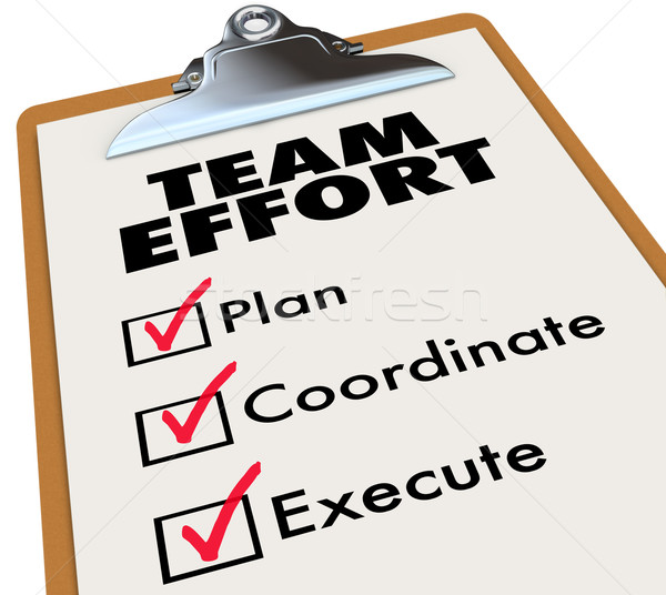 Stock photo: Team Effort Checklist Clipboard Plan Coordinate Execute