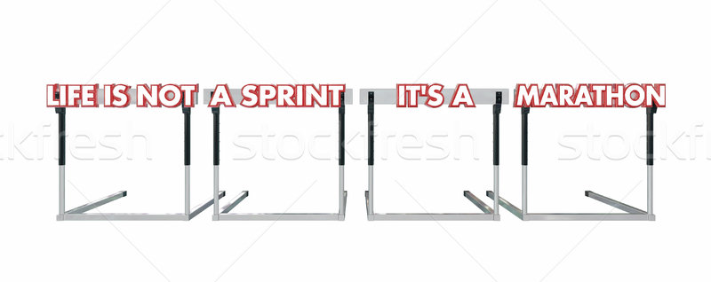 Life is Not a Sprint its a Marathon Jumping Hurdles 3d Stock photo © iqoncept