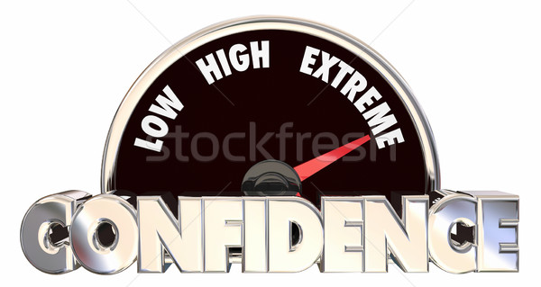 Confidence High Belief Faith Good Attitude Outlook Speedometer 3 Stock photo © iqoncept