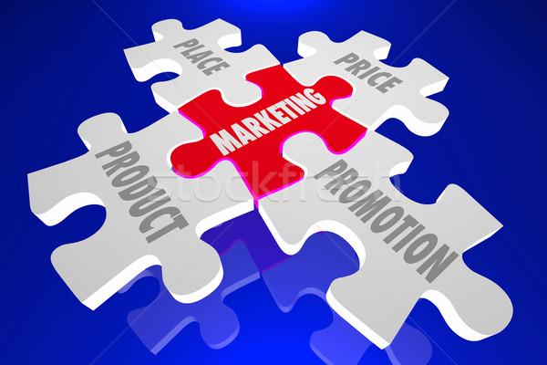 Marketing Product People Place Promotion Puzzle Pieces 3d Illust Stock photo © iqoncept