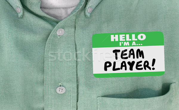 Hello Im Team Player Name Tag Collaborate Work Together 3d Illus Stock photo © iqoncept