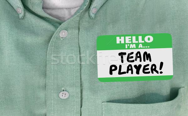 Hello csapat játékos névtábla együttműködik munka Stock fotó © iqoncept