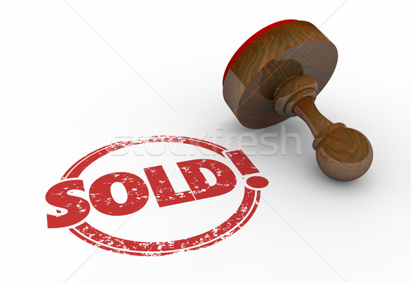 Sold Round Red Stamp Word Sell Success 3d Illustration Stock photo © iqoncept