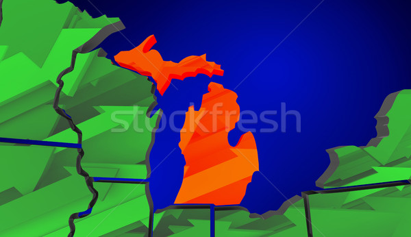 Michigan Map United States America Growth Increase Improve 3d Il Stock photo © iqoncept