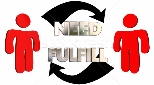 Fulfill Needs Customer Product Service Support Arrows 3d Illustr Stock photo © iqoncept