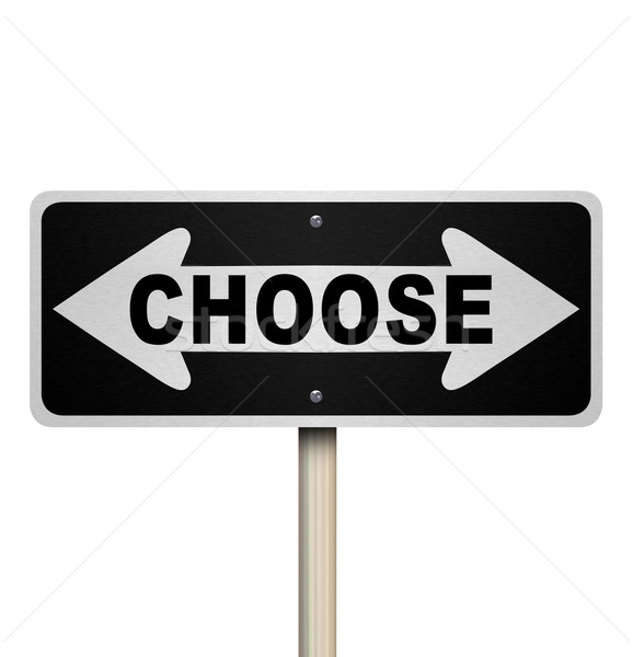 Choose Two-Way Road Sign - Isolated Stock photo © iqoncept