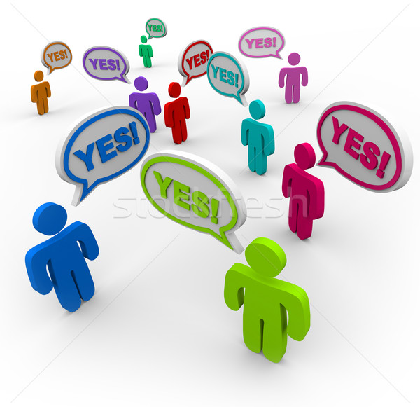 Yes - People Talking in Speech Bubbles Agreement Stock photo © iqoncept