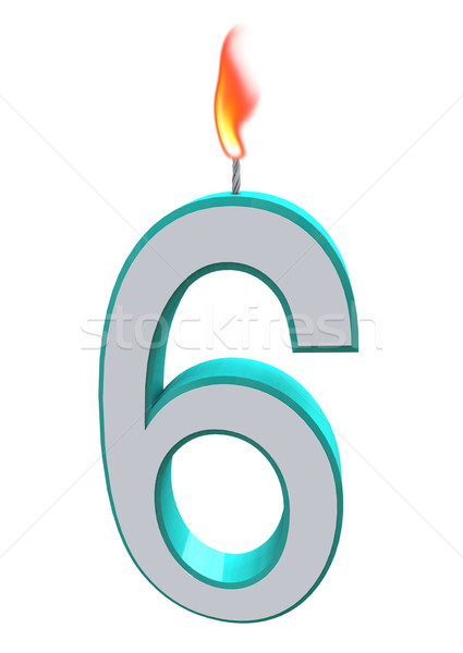 Number Six Candle Stock photo © iqoncept