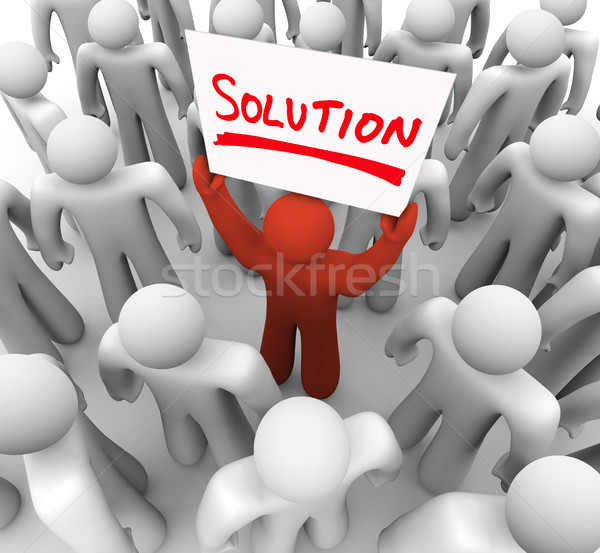 Solution Word Sign Man Holding Idea Sharing Problem FIx Stock photo © iqoncept