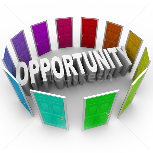 Opportunity Word Doors Open to Big Chance for New Future Stock photo © iqoncept