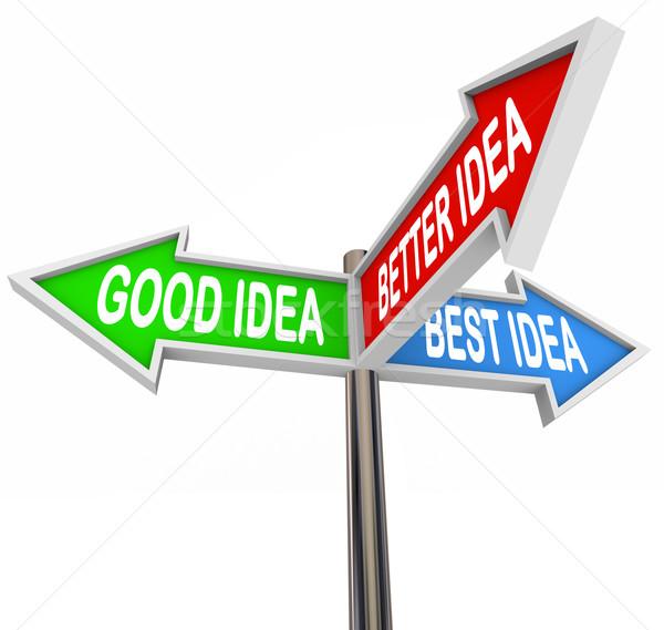 Goede beter best verkeersborden pijlen kiezen Stockfoto © iqoncept