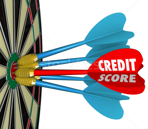 Credit Scores Darts on Dartboard Aiming for Best Number Stock photo © iqoncept