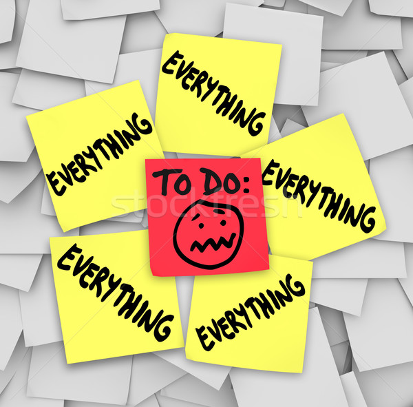 Stock photo: Sticky Notes To Do List Everything Overwhelming Tasks