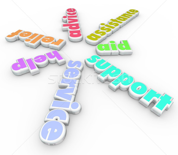 Support Service Help 3D sprial Pattern Words Stock photo © iqoncept